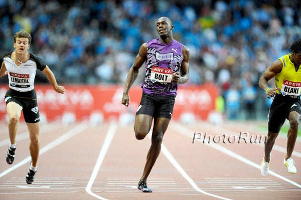 Usain Bolt, shown here winning the 100 meters at the Paris Diamond League meeting last month, announced his 2010 season is over due to back trouble.. Photo: PhotoRun.net