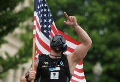 Former Marine Sergeant Jeffery Soles ran the entire marathon in a gas mask. Photo: Team X.T.R.E.M.E.