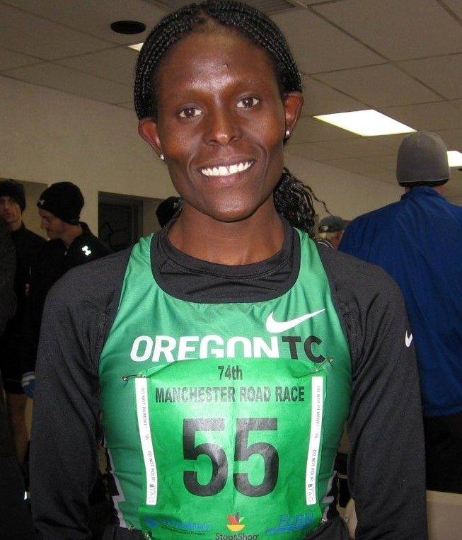 Kenyan Sally Kipyego just missed Emily Mondor's course record in winning the 74th Manchester Road Race on Thanksgiving Day. Photo: Jane Monti