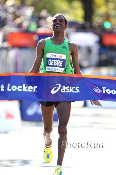 Gebremariam crossed the finish line at the 2010 ING NYC Marathon.