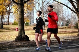 Kinnier Lastimosa and Jennifer Cheng have recently taken up marathoning together. Photo: Wall Street Journal