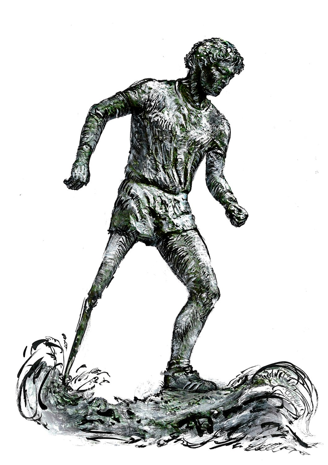 Luben Boykov's conceptual drawing of the Terry Fox statue. Photo: Globe and Mail