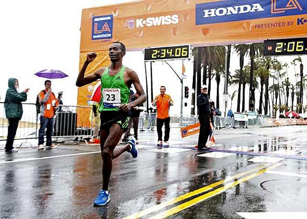 Ethiopian Markos Geneti ran the second-fastest debut marathon of all-time on Sunday, running 2:06:35 to win the Honda L.A. Marathon. Photo: LA Times