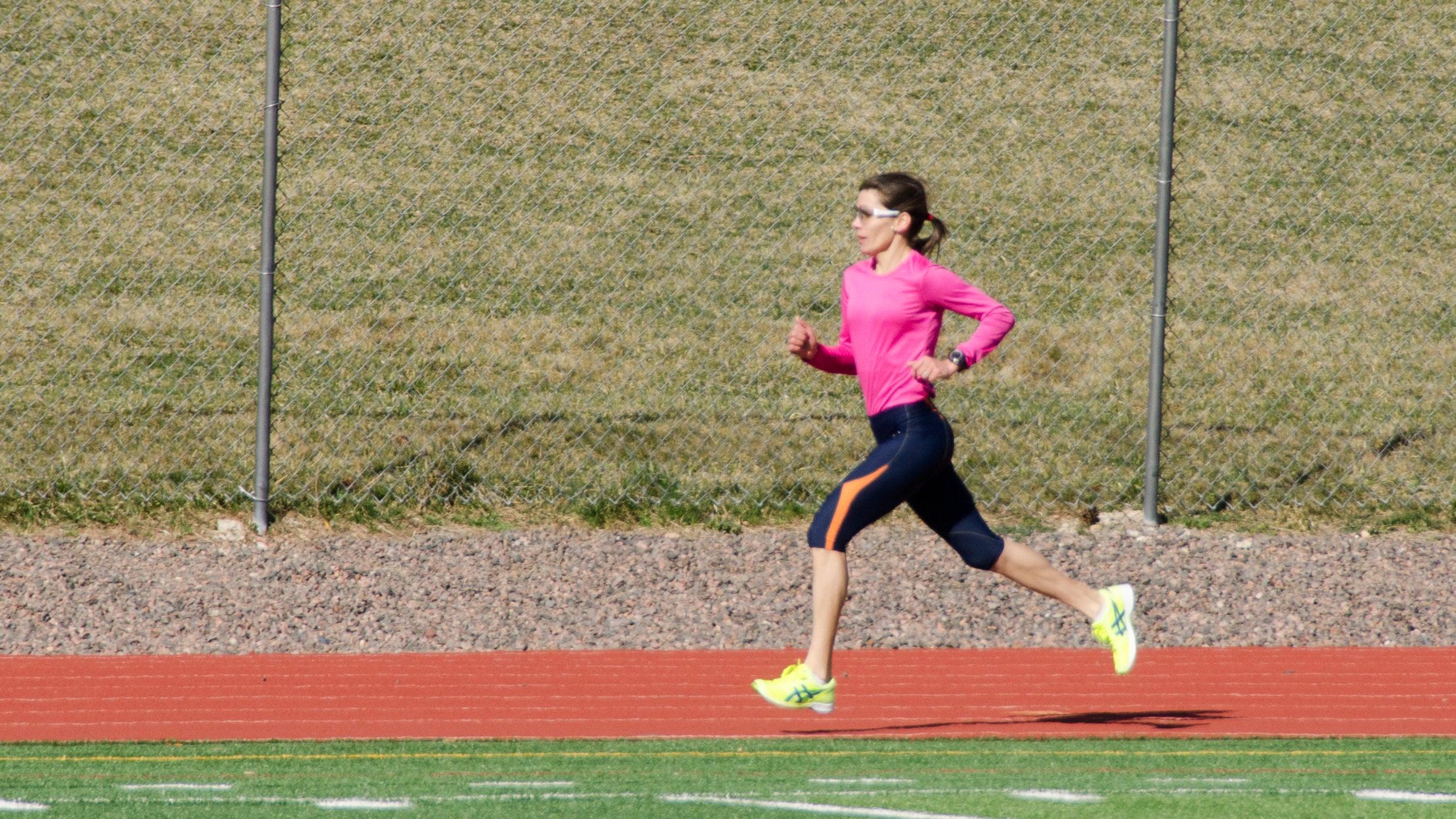 woman track intervals