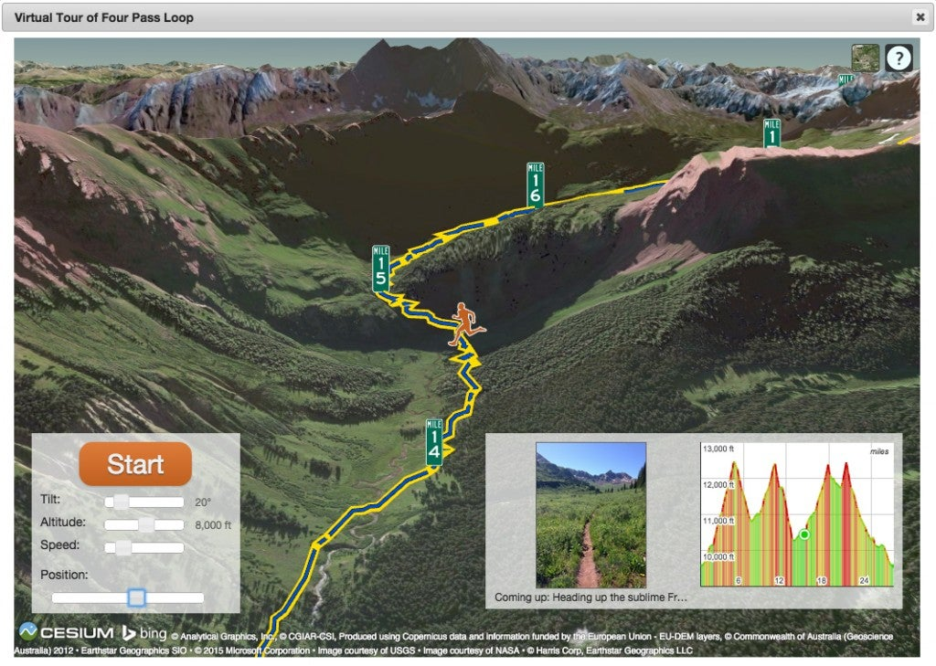Trail Run Project is a new interactive map and information guide service with data and input seeded by runners. The above screen shot is an example of a virtual run.