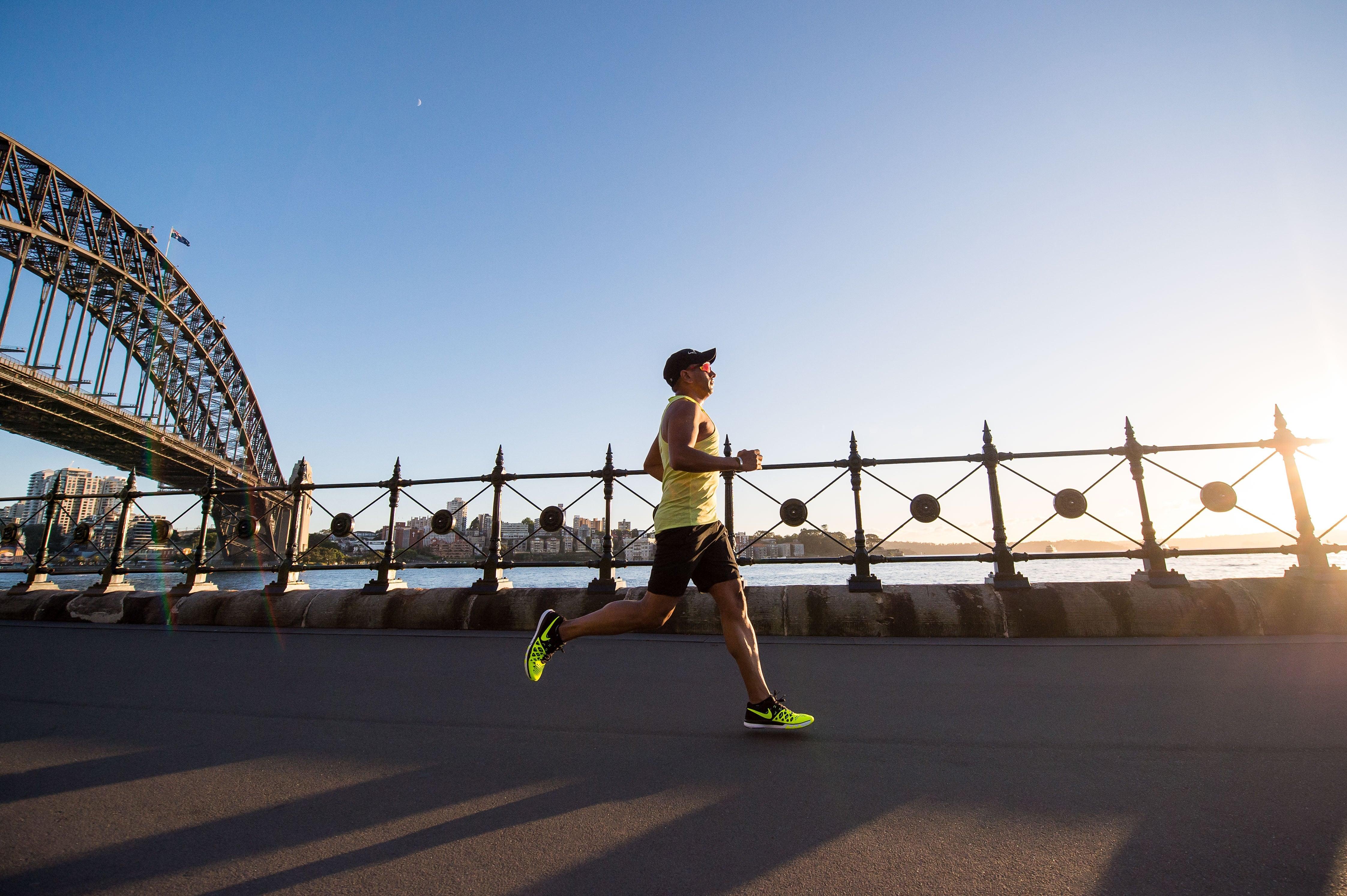 running alongside bay