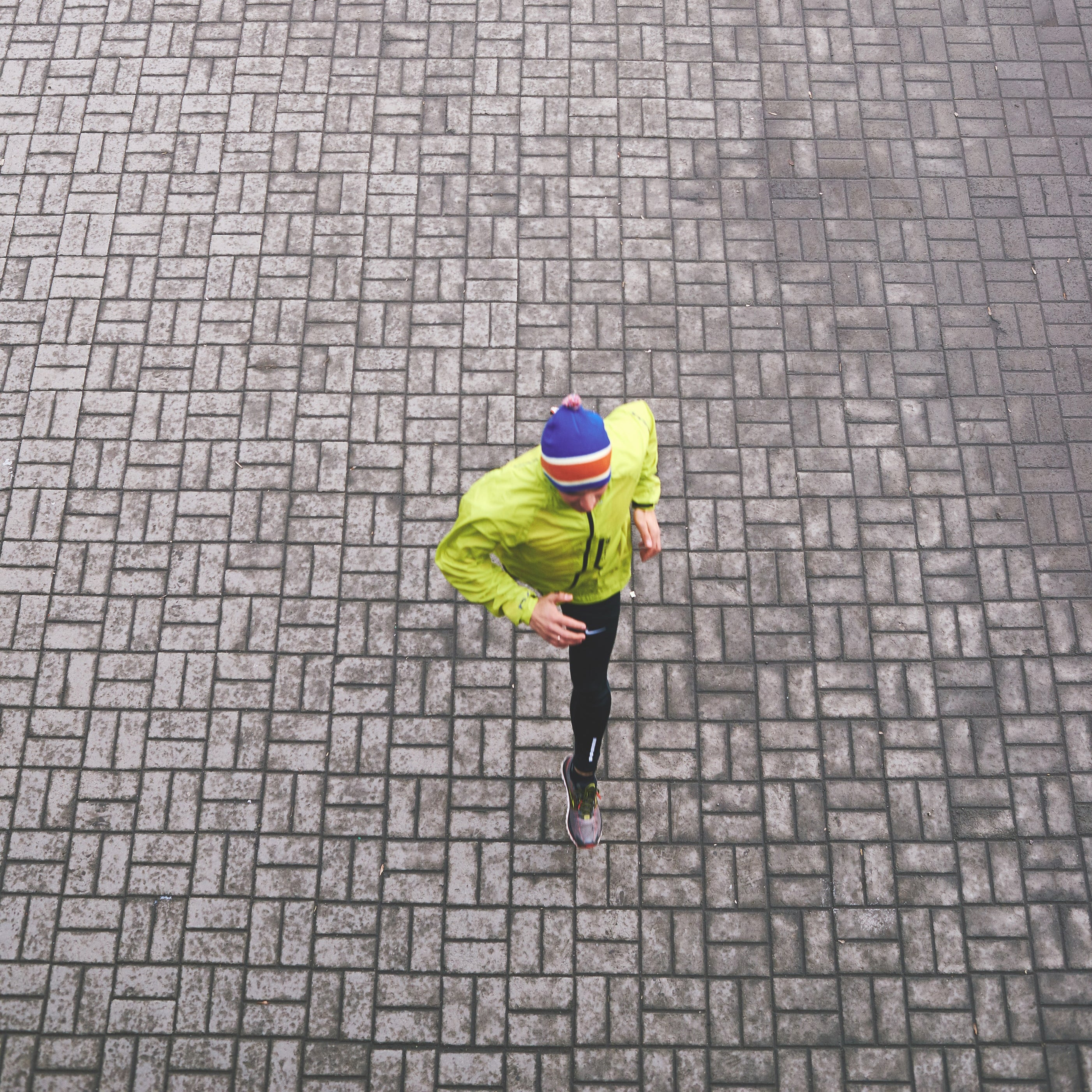 runner from top paving stones