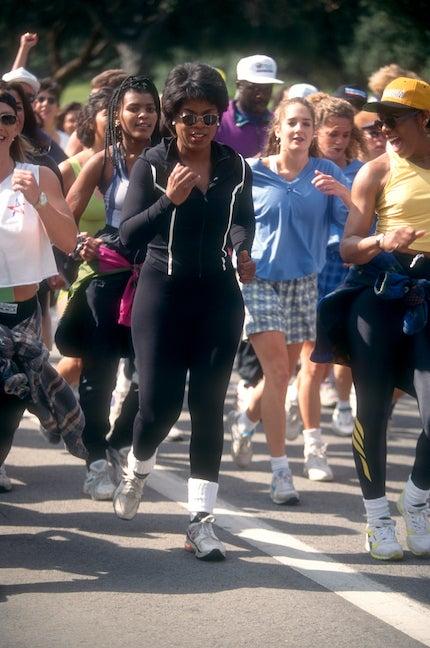 Oprah Winfrey running in Los Angeles.