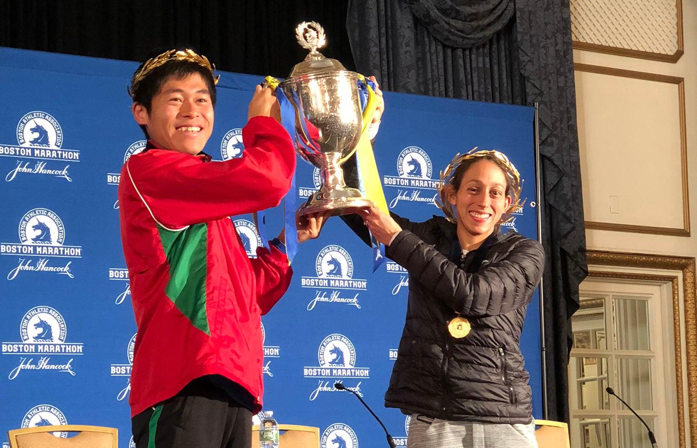 Yuki Kawauchi With Trophy at 2018 Boston Marathon