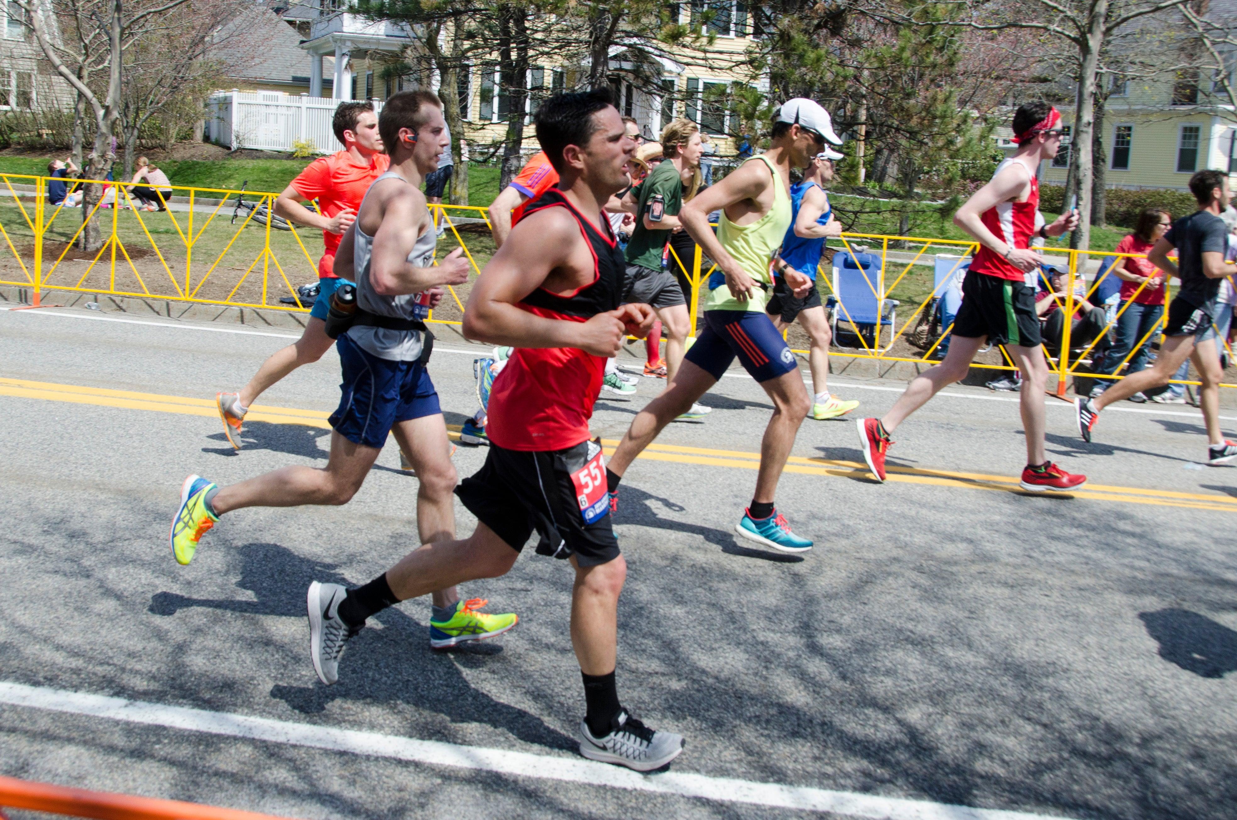 runners late in 2016 Boston Marathon