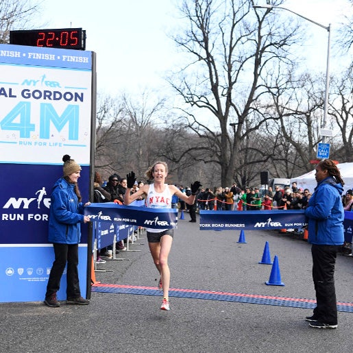The 2018 NYRR Al Gordon Brooklyn 4M. Winner Roberta Groner (USA) crosses the finish line.