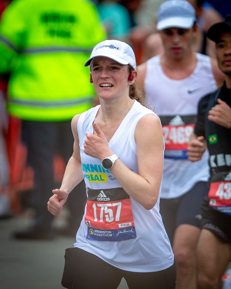 Tina Muir during 2019 Boston Marathon