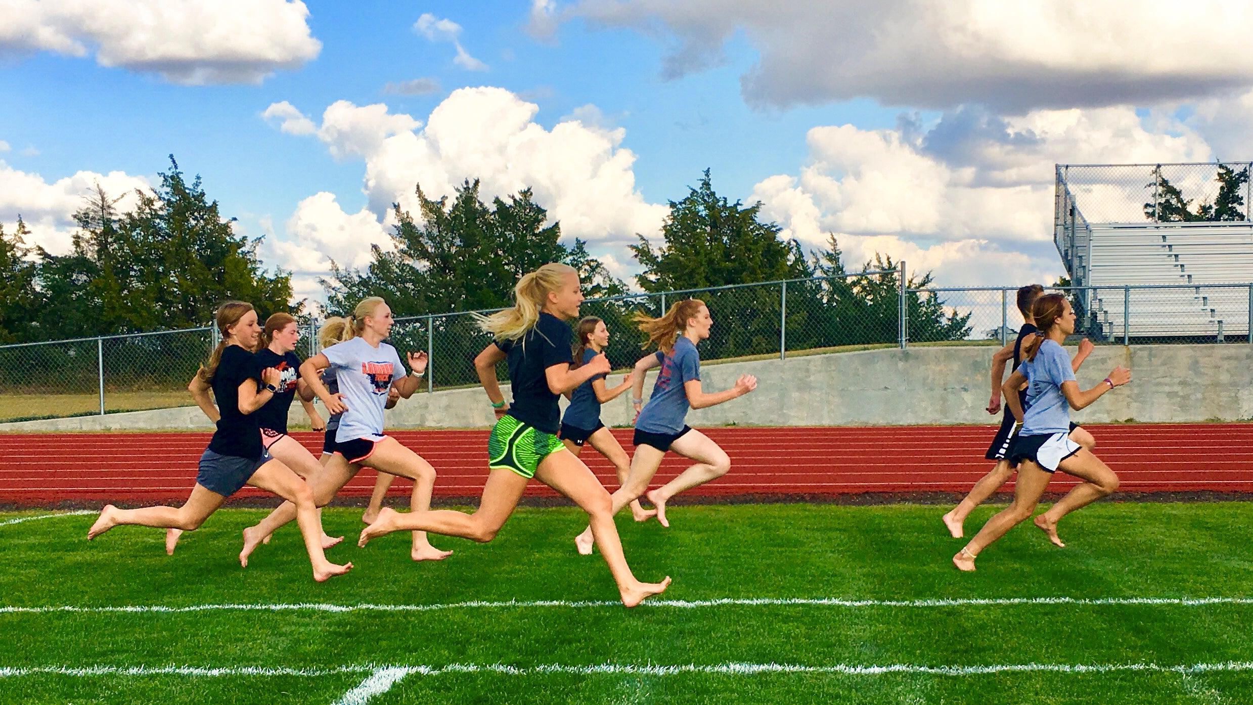 barefoot strides on grass