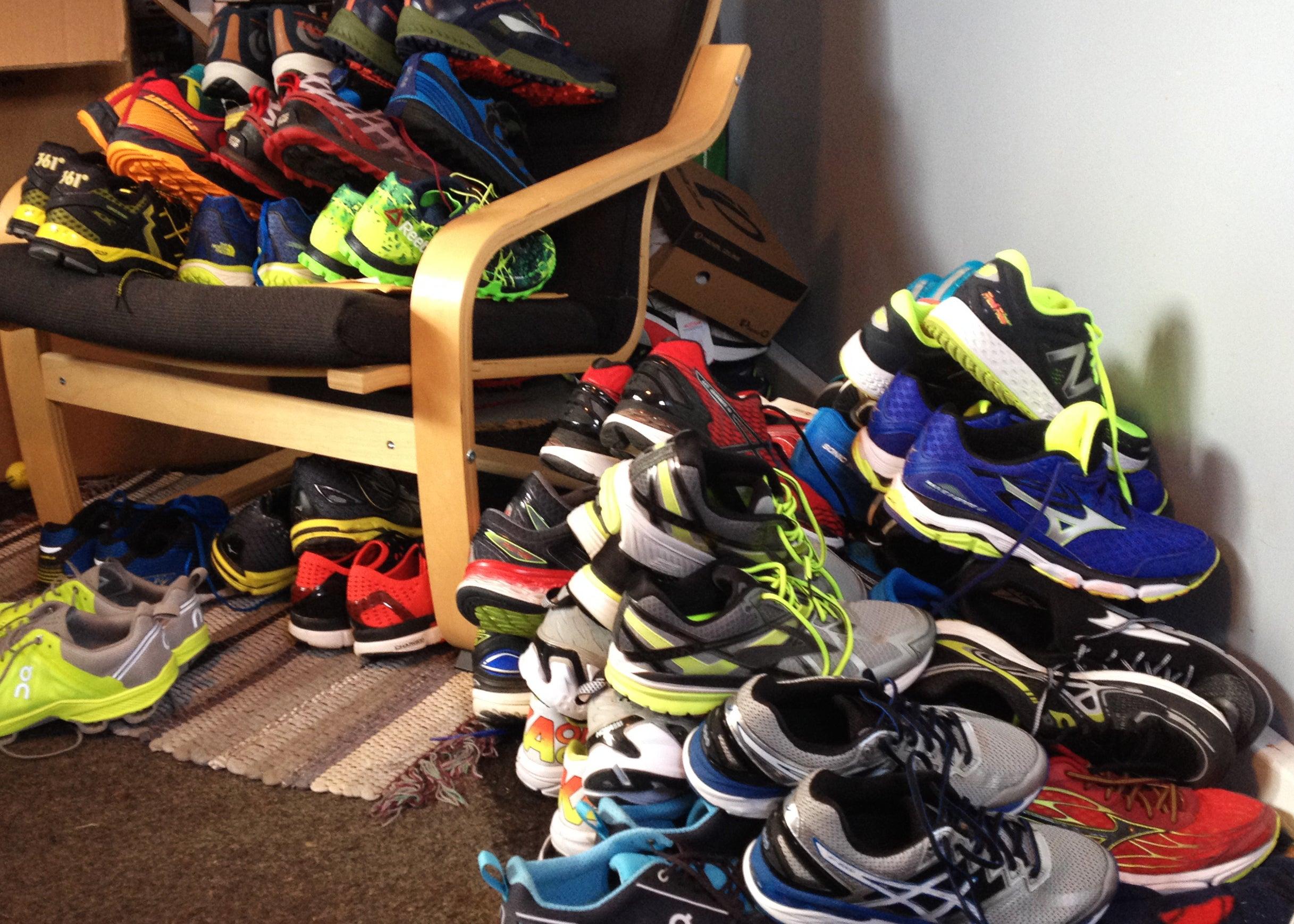 running shoe pile