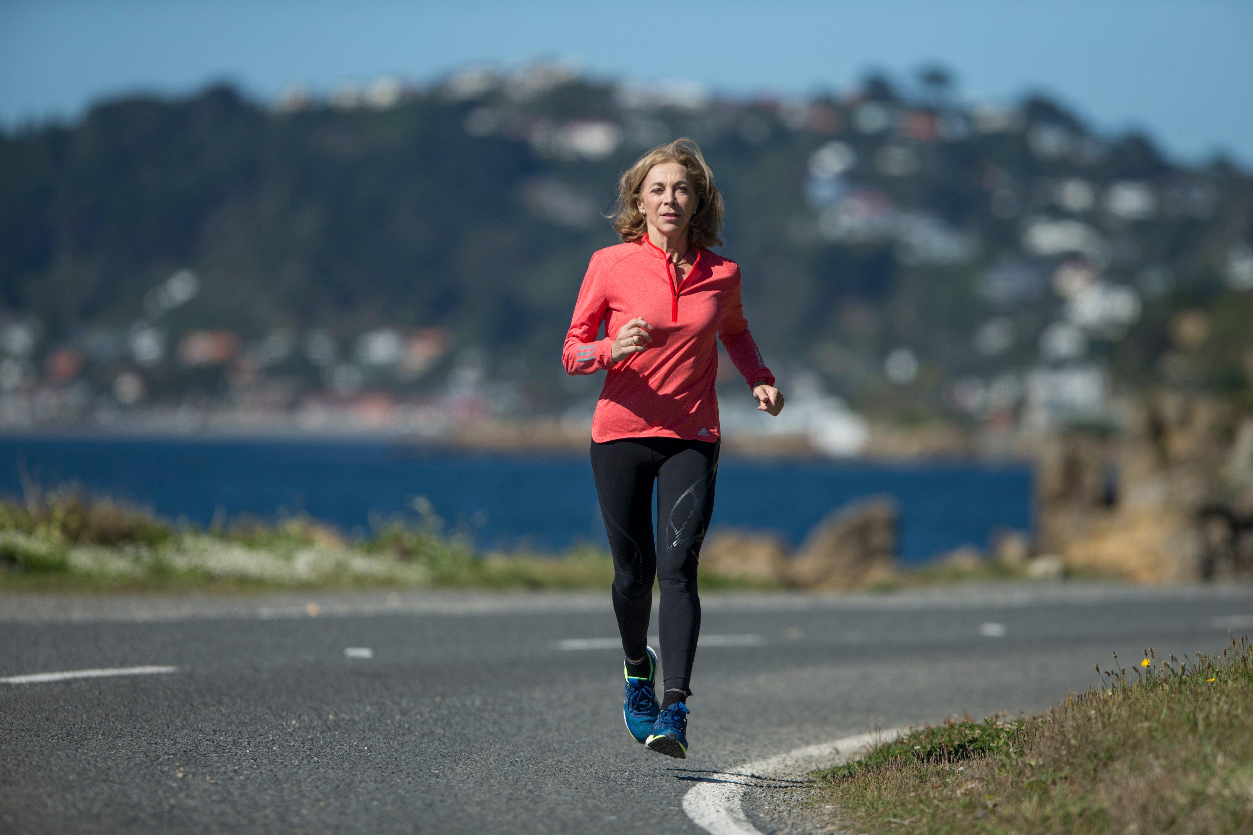 Kathrine Switzer running in Wellington, New Zealand