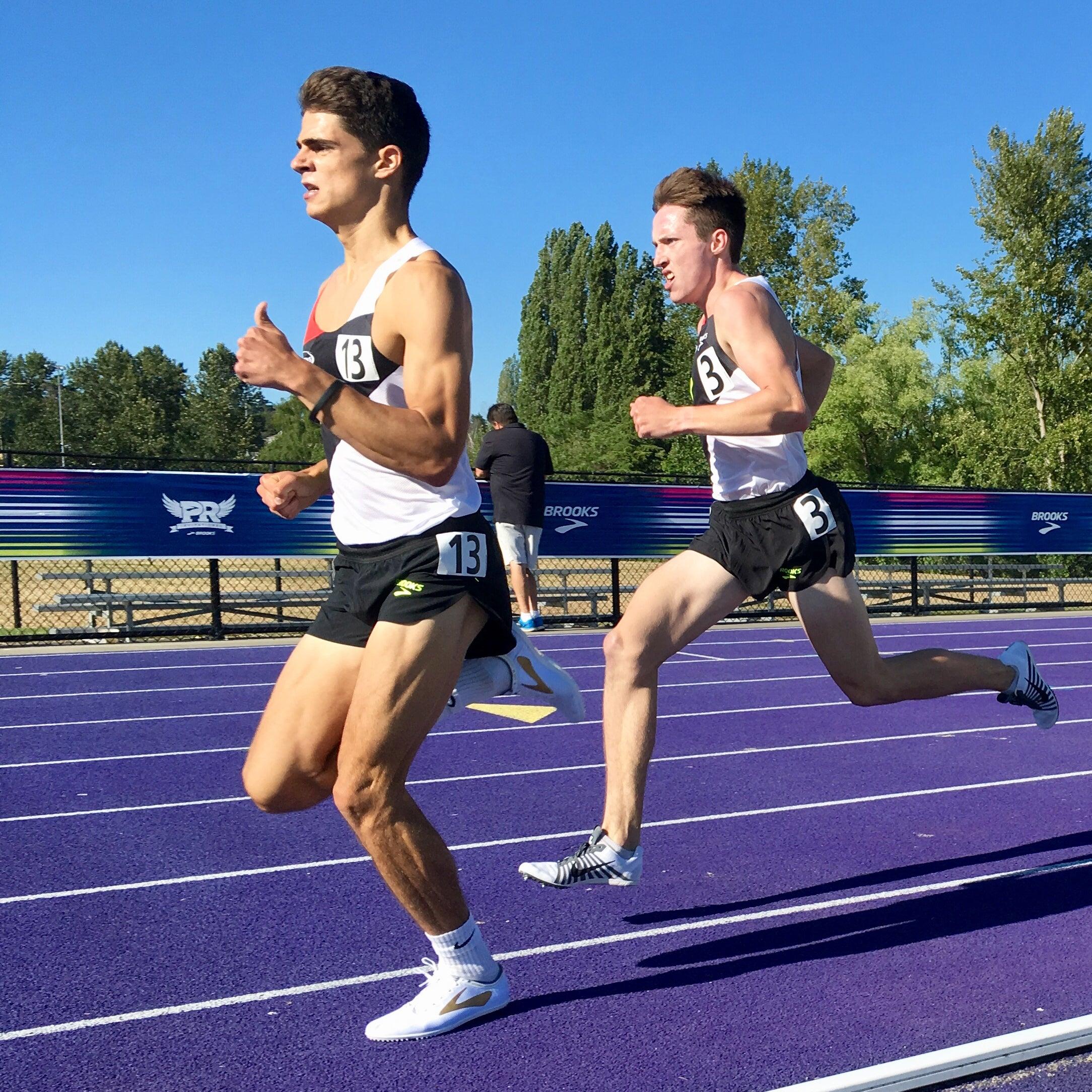 Nick Foster leading mile, Brooks PR