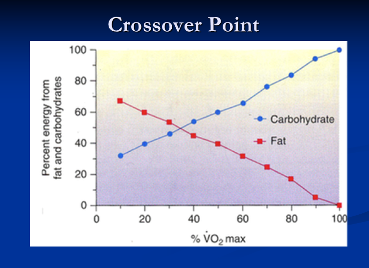 Line graph showing crossover point of energy from fat and carbs with vo2max