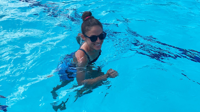 Becky Wade pool running