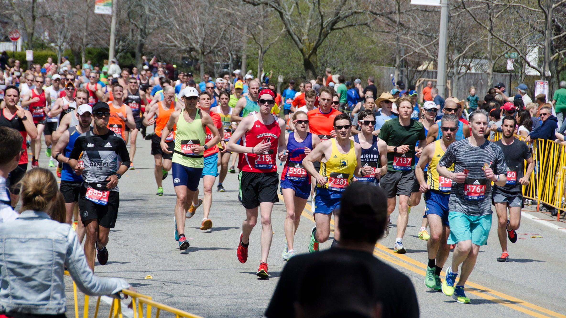 Boston Marathon runners running at mile 20