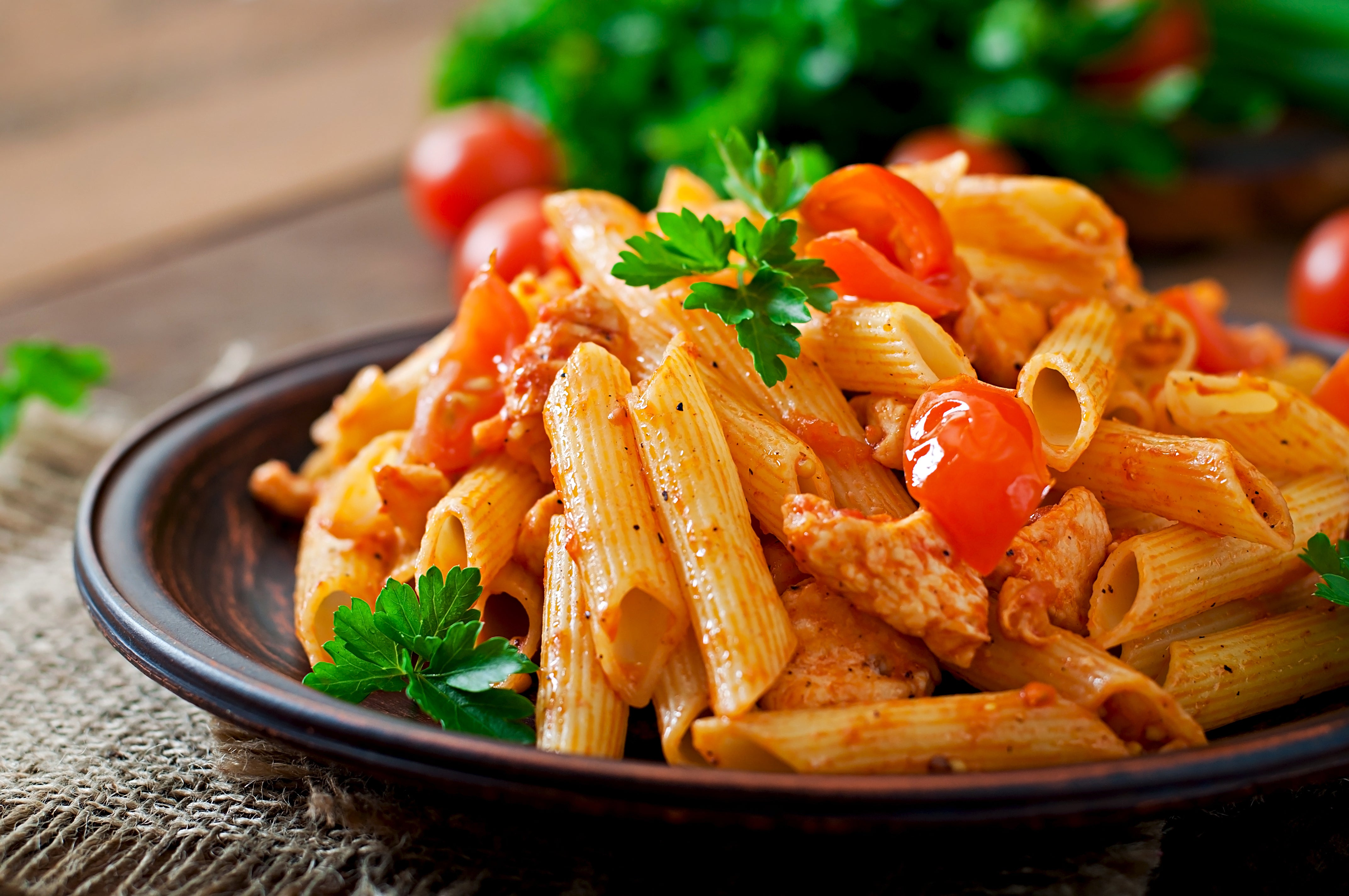 pasta and chicken in tomato sauce