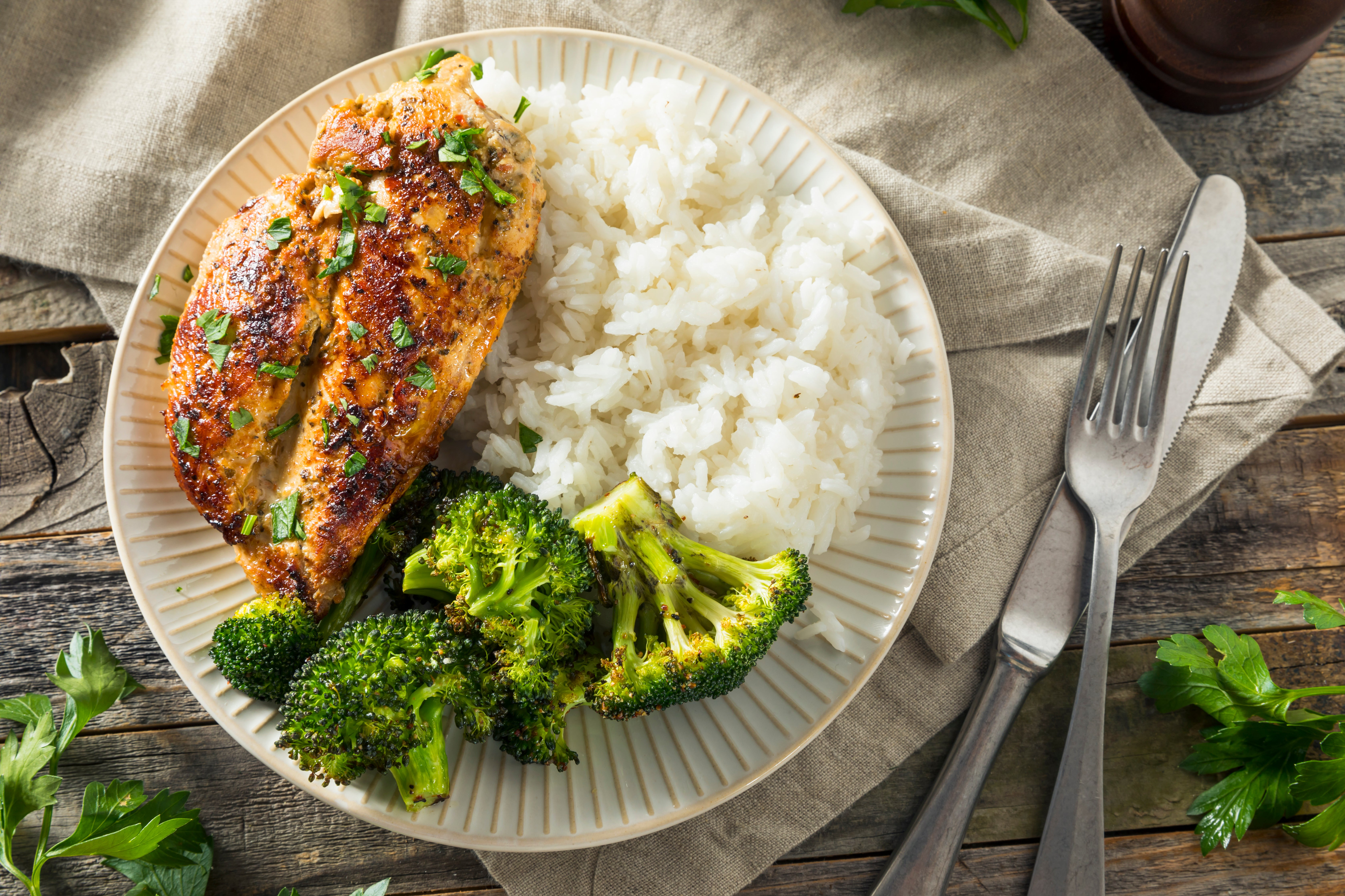 rice, chicken and broccoli