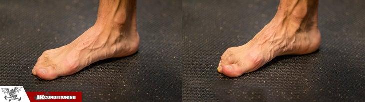 ejercicio de pie corto