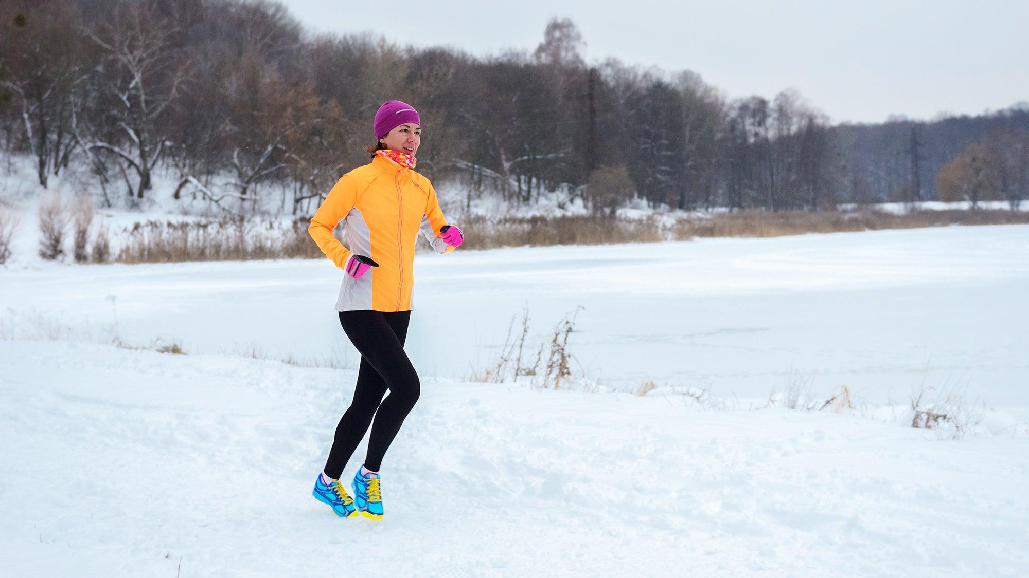 woman running in winter
