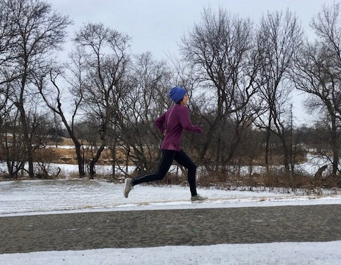 Maddie Van Beek winter running in Fargo, North Dakota