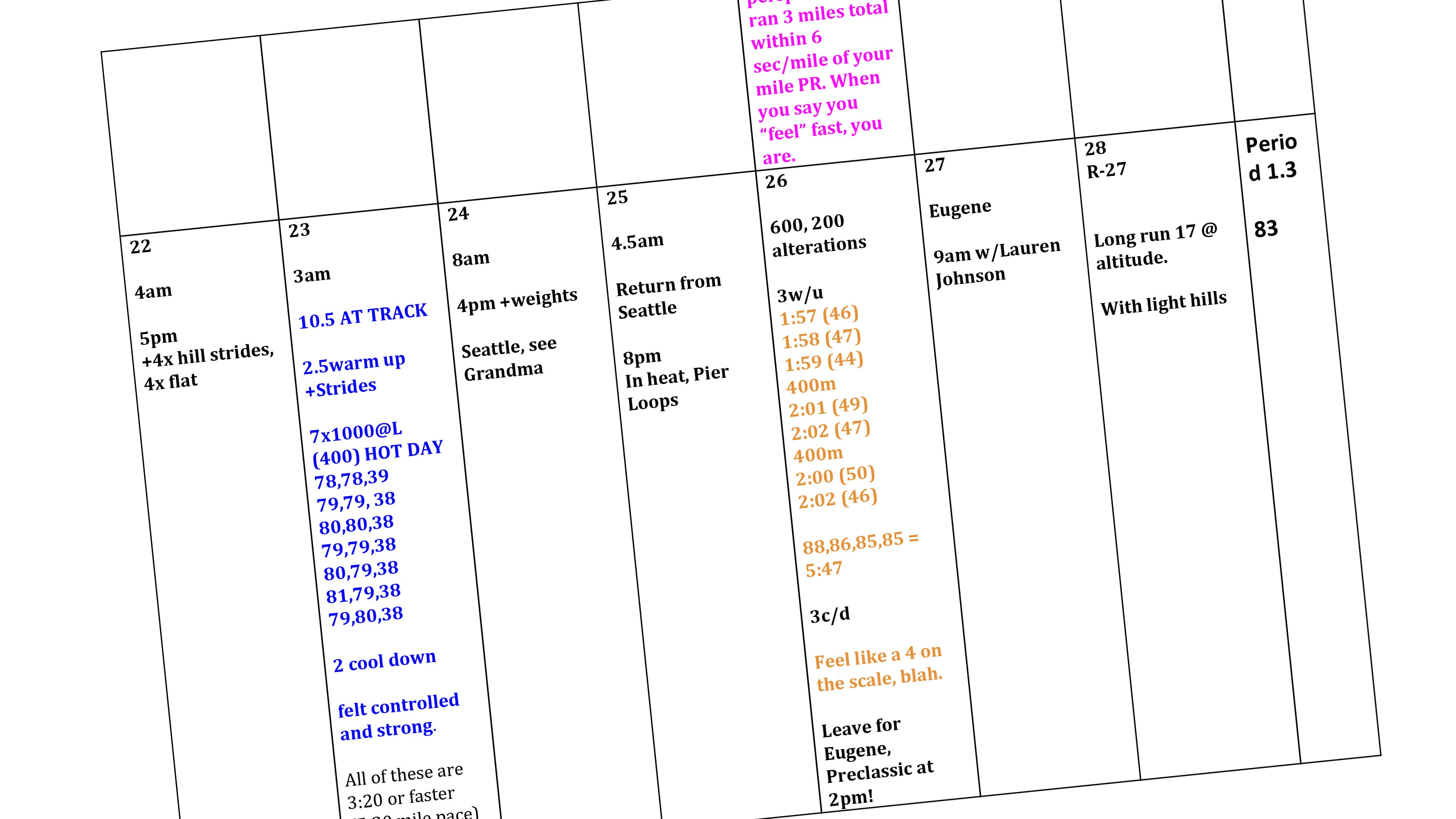 color coded training log excerpt
