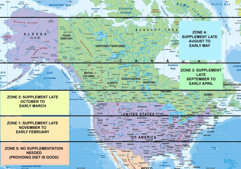 Vitamin D latitude zones