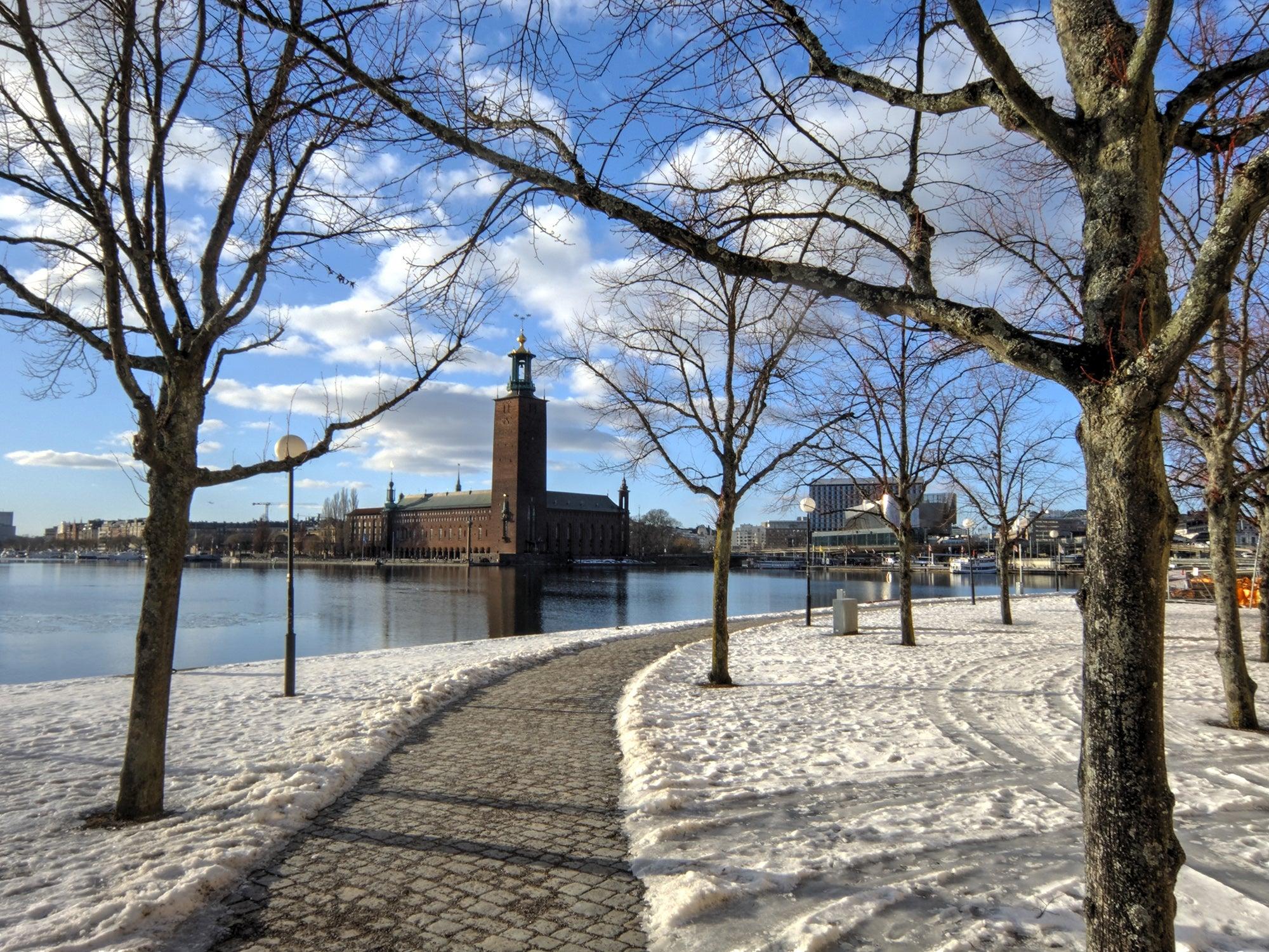 Stockholm winter running city