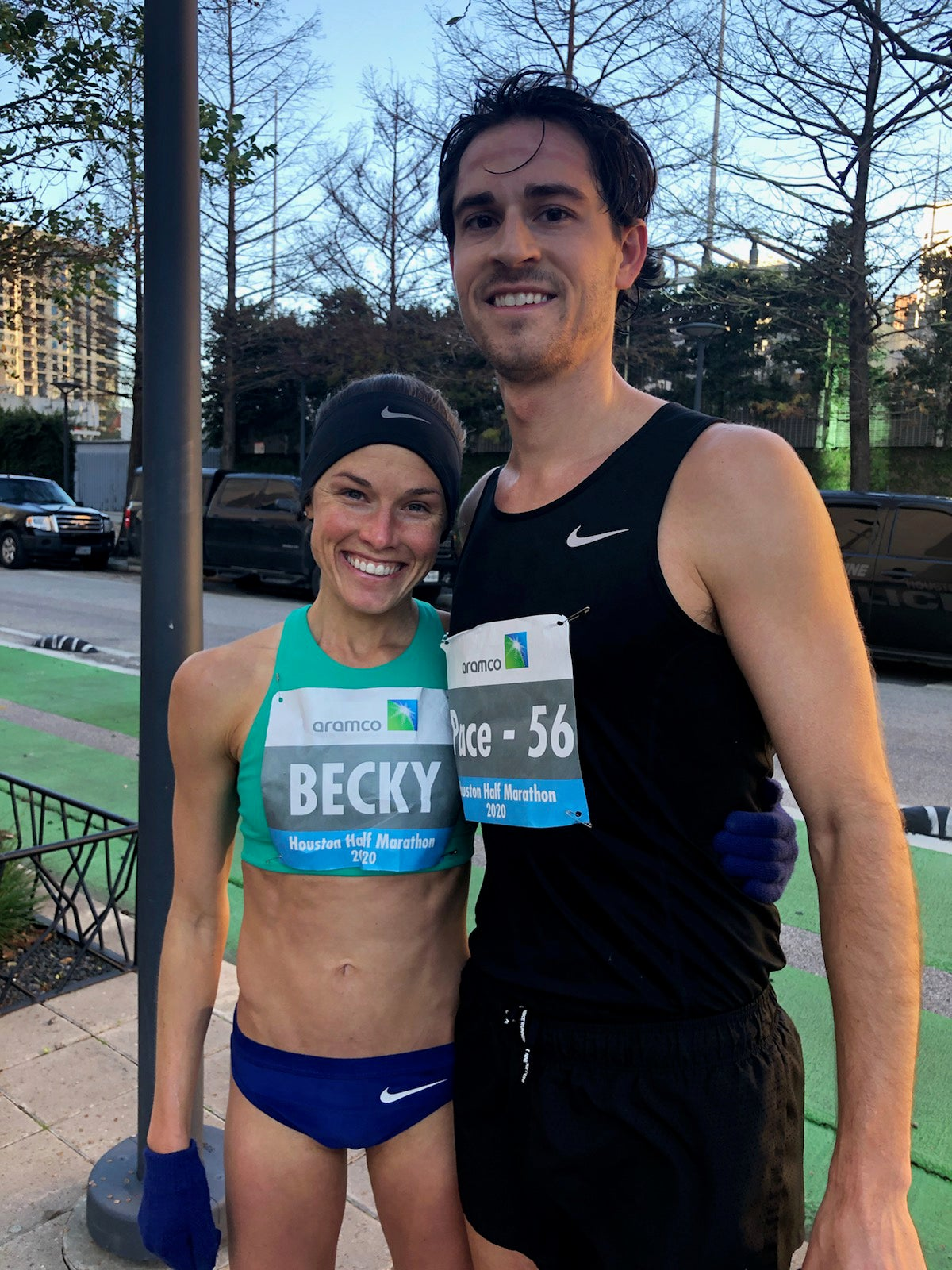 Becky Wade and husband after Houston Half Marathon