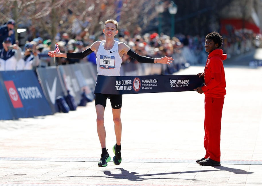 Galen Rupp reacts as he crosses the finish line to win the Men's U.S. Olympic marathon team trials.