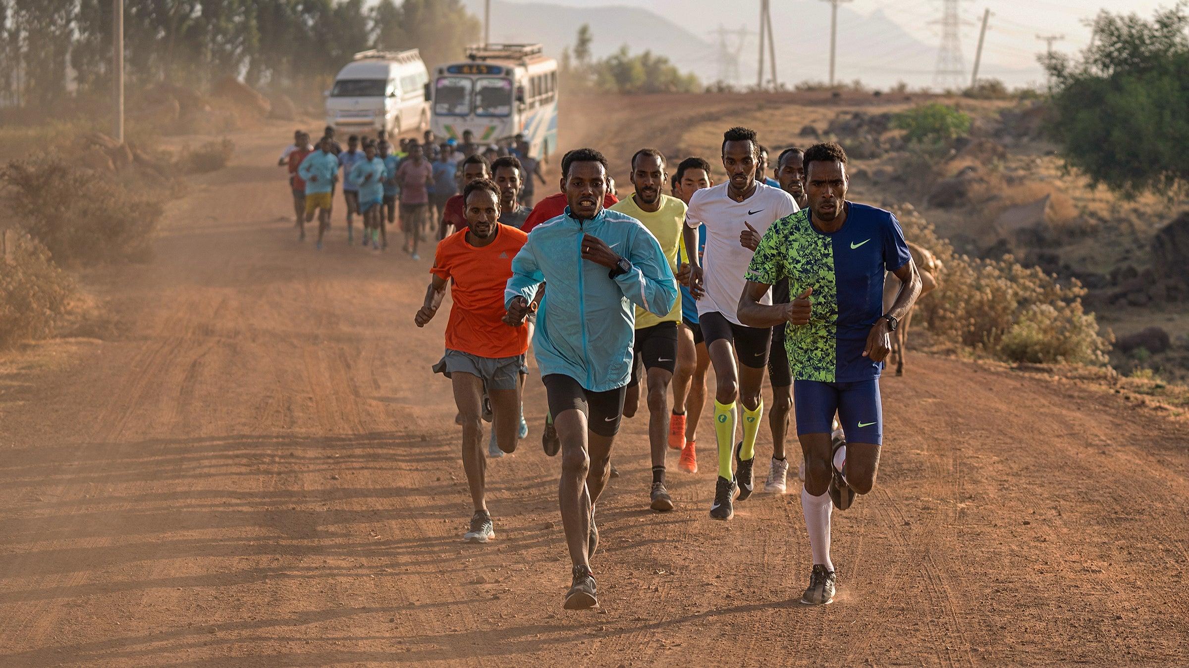 Lelisa Desisa on a group run