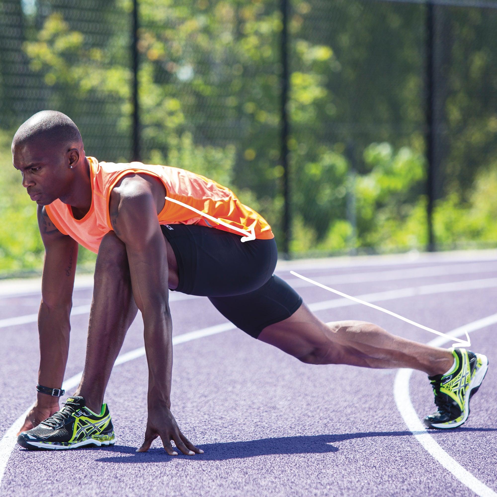 Man in a runner's lunge