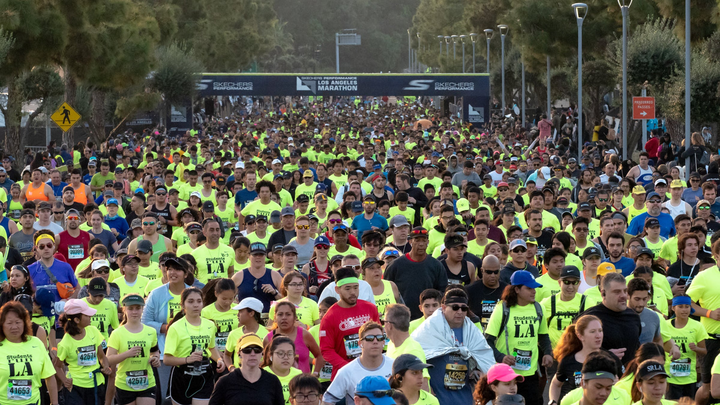 Shot of the crowd at the start of the LA Marathon