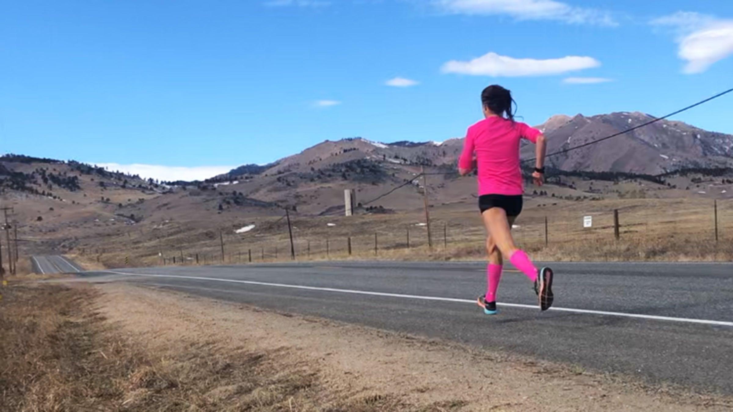 Lindsay Flanagan training on road