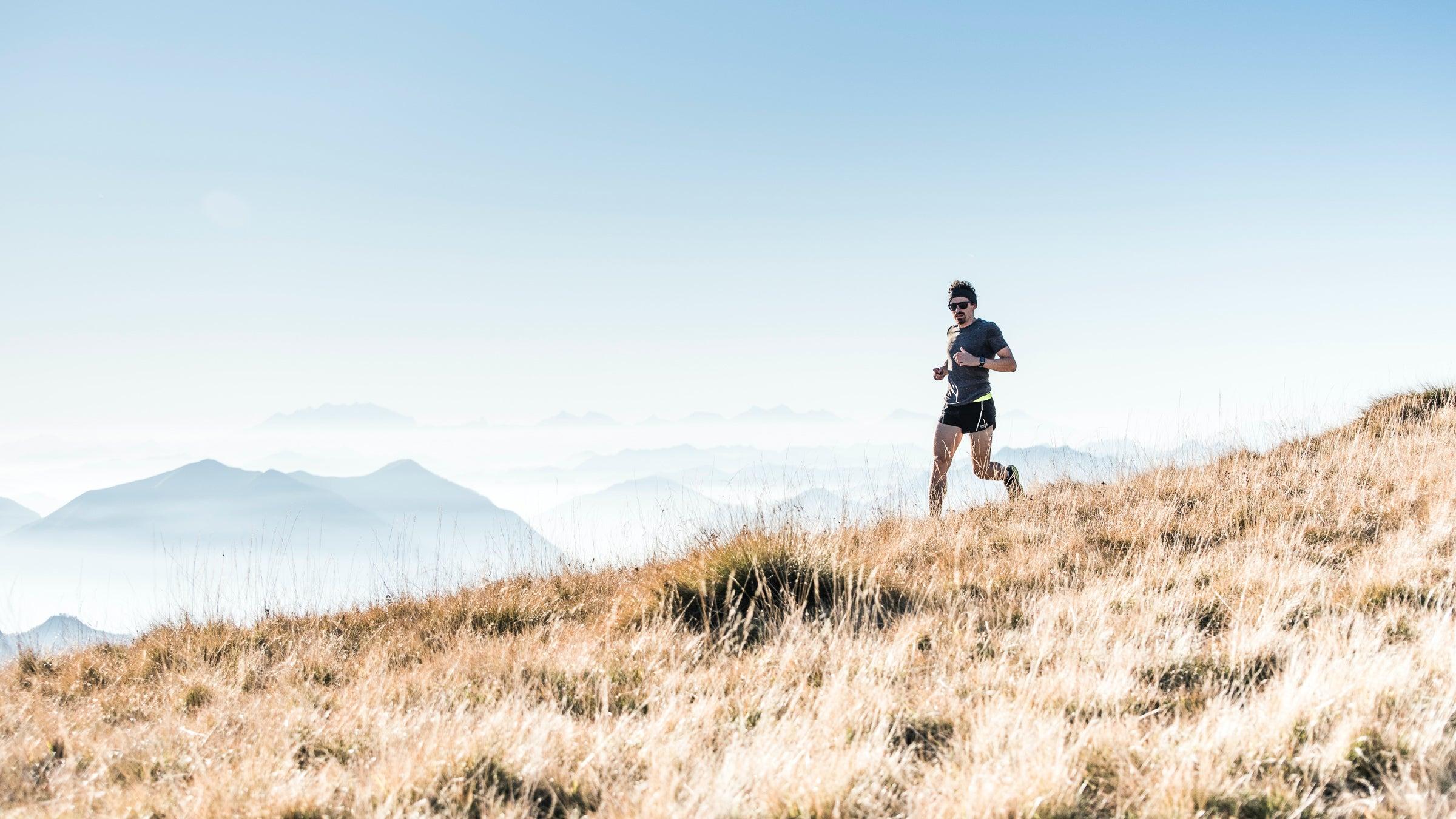 Man trail running in Italy