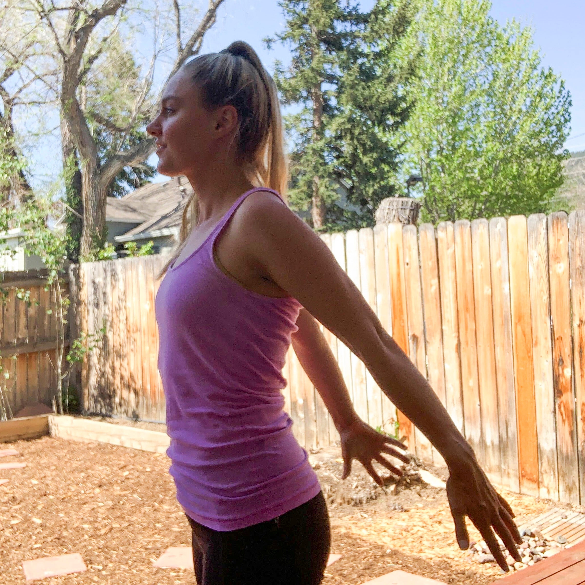 arm stretch to open shoulders
