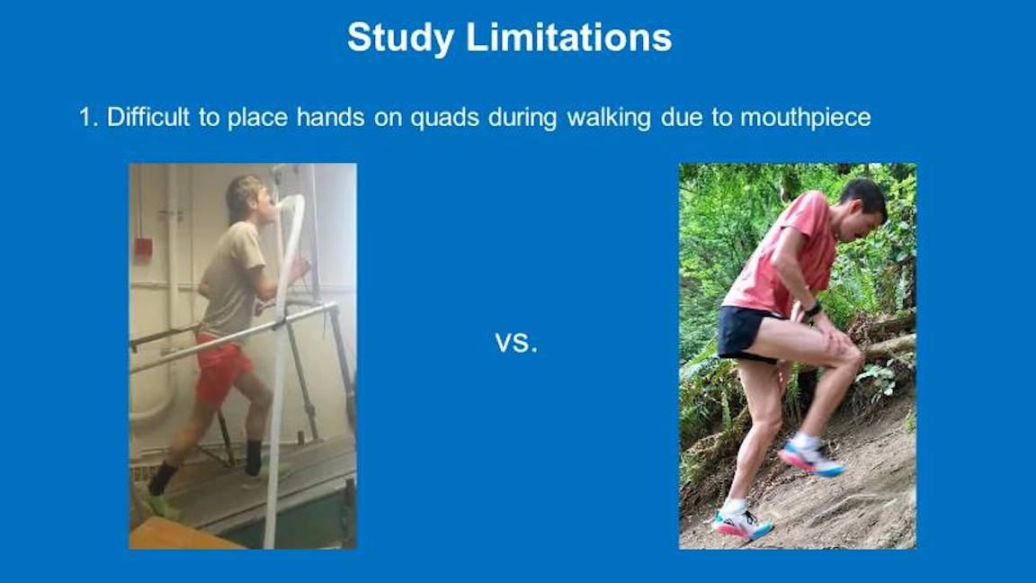 Two images showing the difficulty of placing hands on quads while on a treadmill with a mouthpiece on compared to hiking