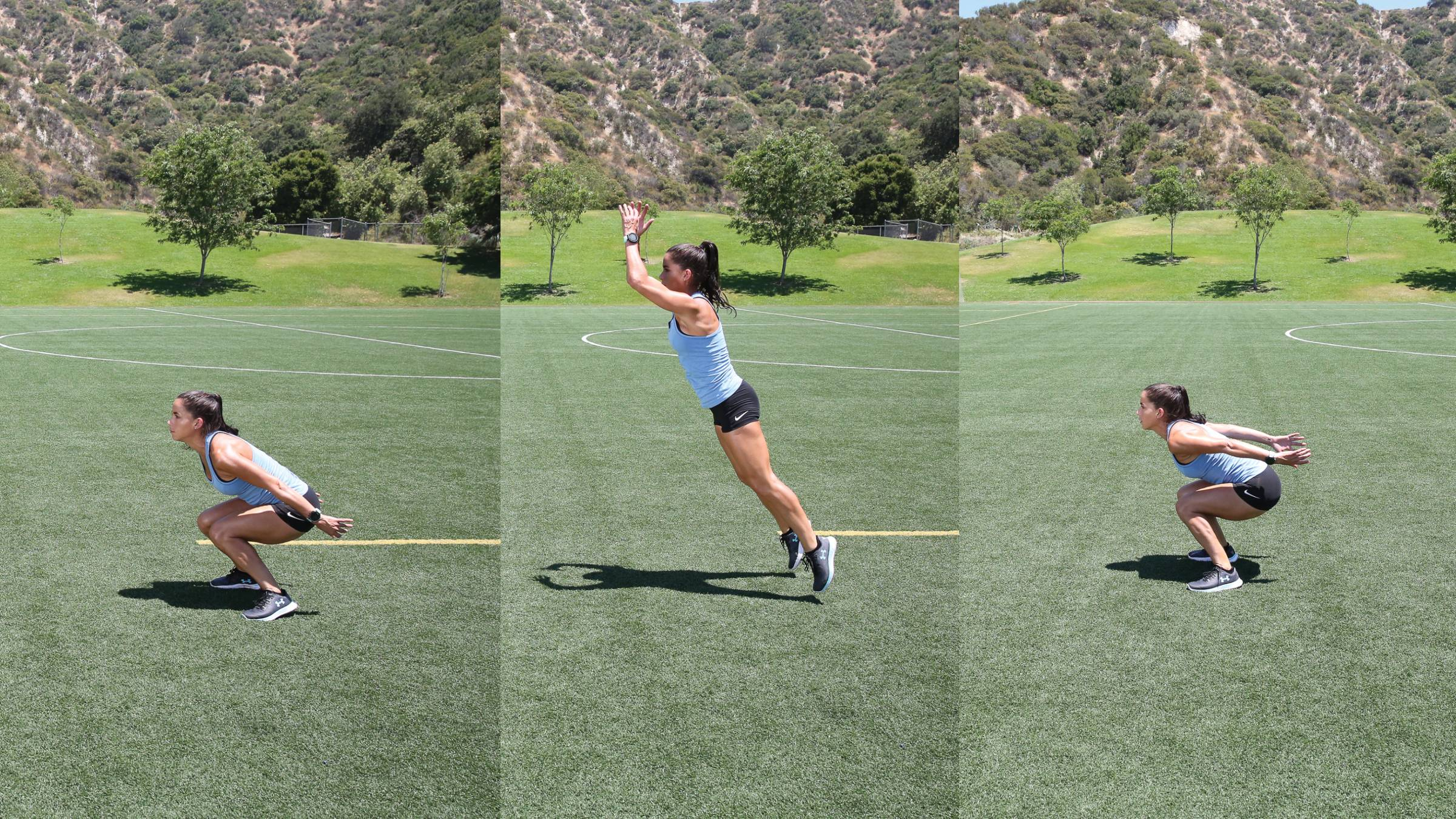 Composite of woman perfoming a long jump