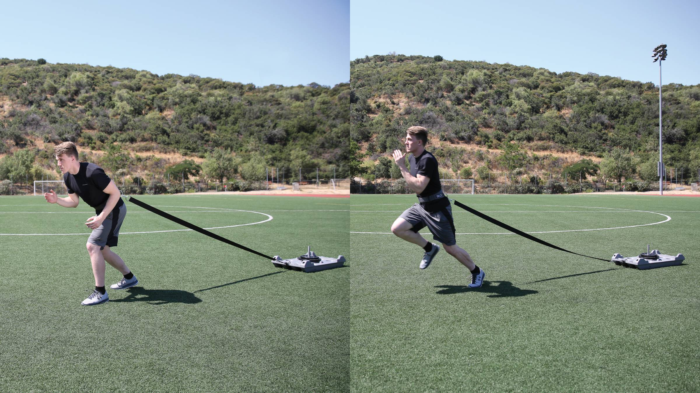 Man performing a weight sled run