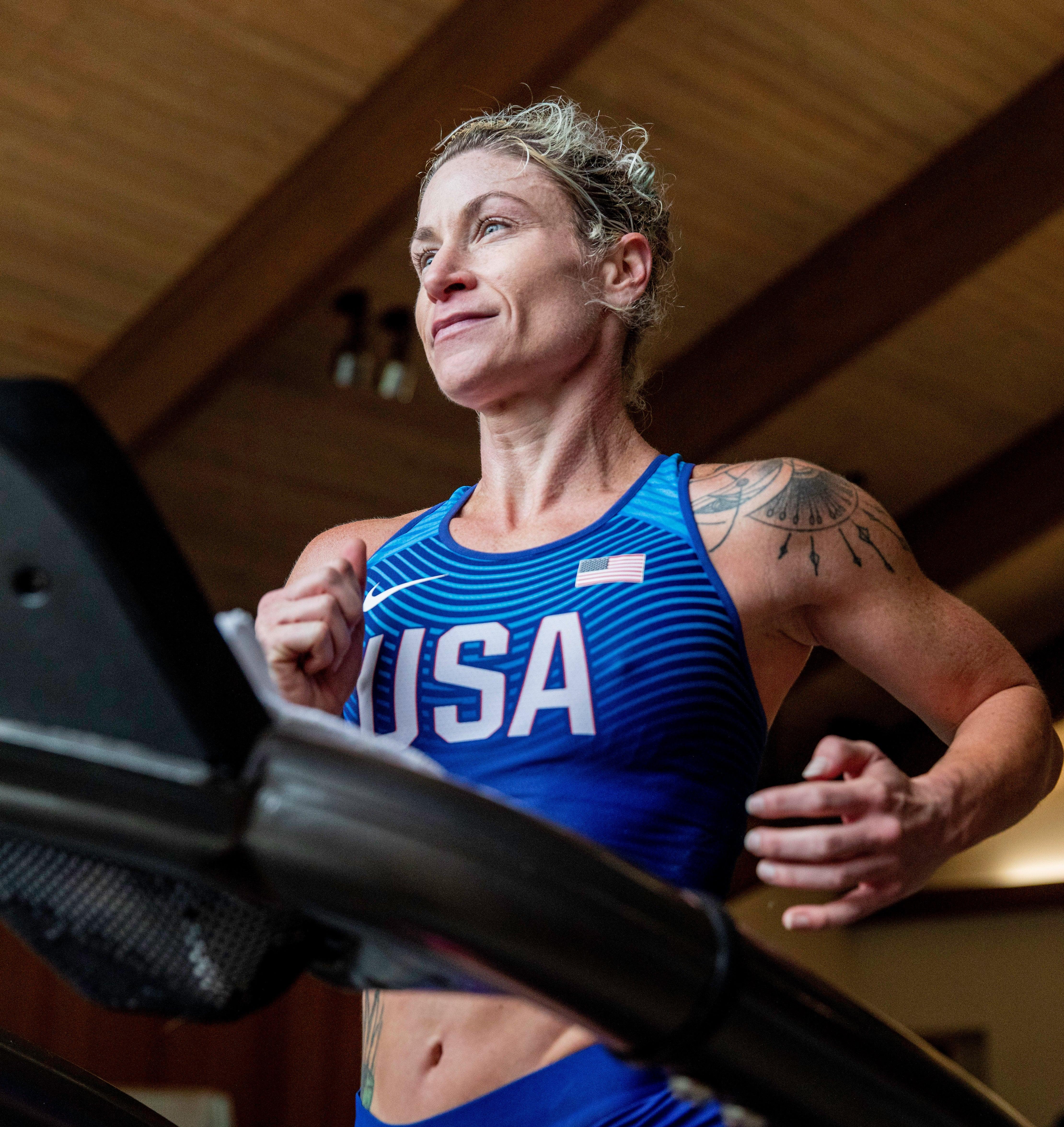 Renee Metivier running on treadmill.