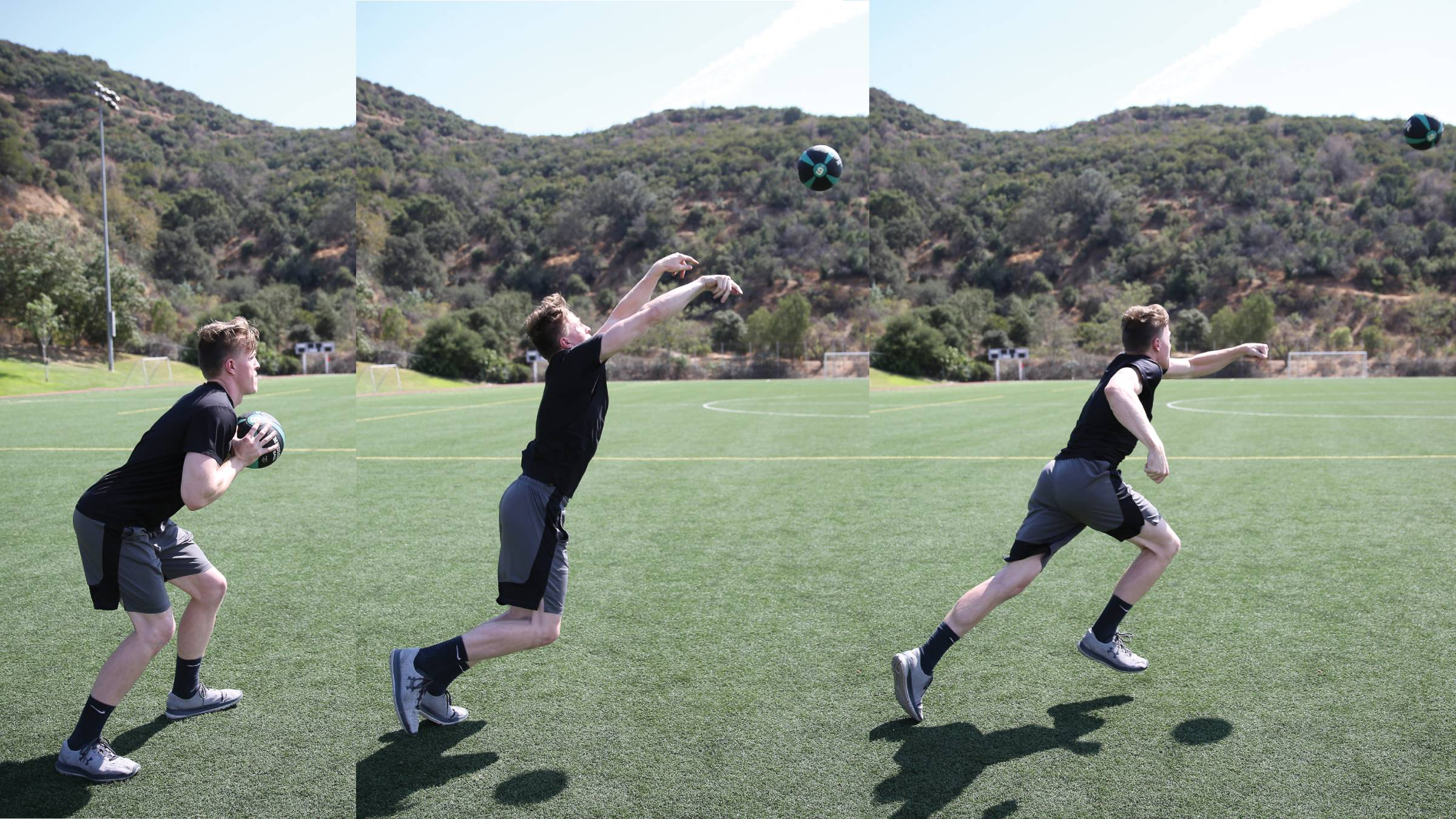 Composite of a man throwing a med ball and then sprinting