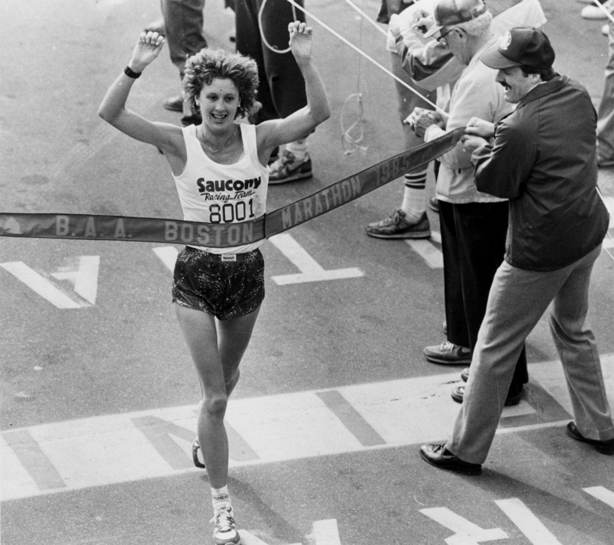 Lisa Larsen Rainsberger winning the Boston Marathon