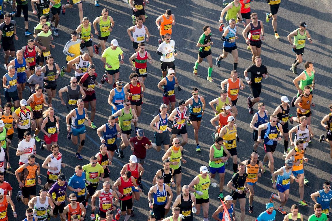 Aerial shot of marathoners competing
