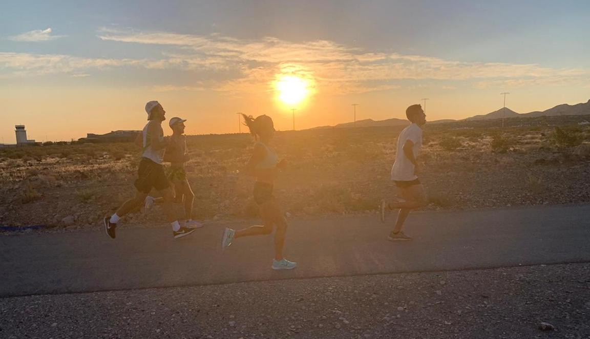 Group running in extreme heat.
