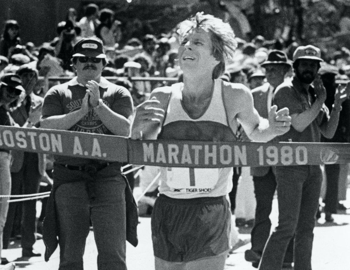 Bill Rodgers winning the 1980 Boston Marathon