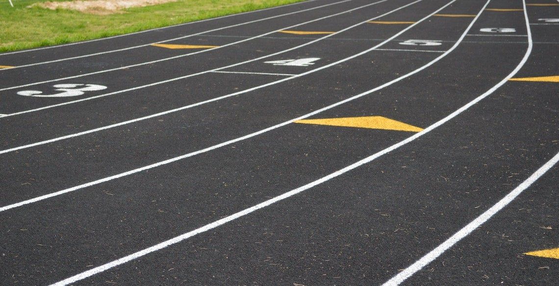 Lanes on an outdoor track.