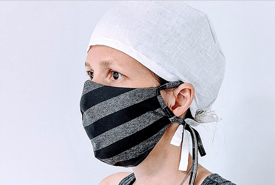 Striped mask on a woman